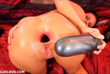 Roxy Raye shows no mercy on her once tight asshole with big dildos and her fingers until she prolapses