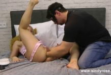 Sindy Rose in pink ribbon & Mr. Play anal and pussy fisting