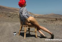 Redhead Hotkinkyjo self anal fisting & prolapse in the middle of nowhere